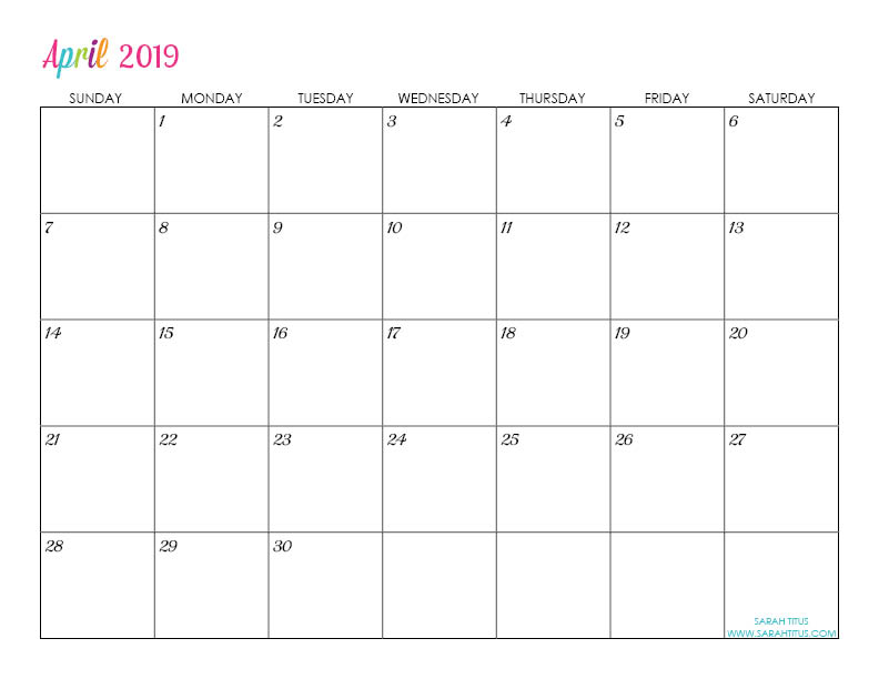 writable monthly calendar 2019