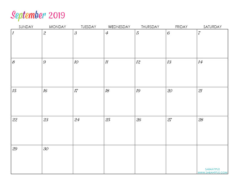 Custom Editable Free Printable 2019 Calendars - Sarah Titus