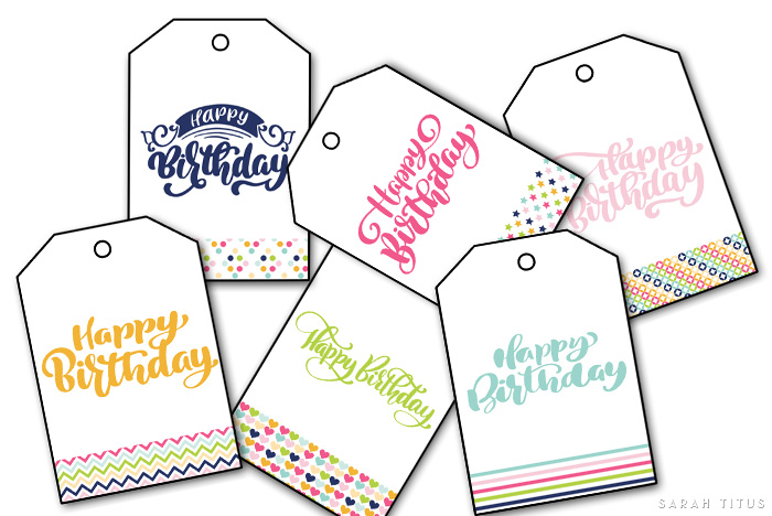 Free Printable Happy Birthday Gift Tags - Sarah Titus