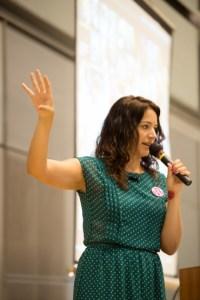 Sara Rosso giving keynote at WordCamp Tokyo
