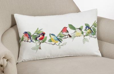 Saro 263 Printed Embroidered Birds Pillow