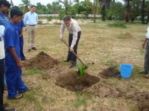 Mr. Philippe Duamelle planting a tree at the premises