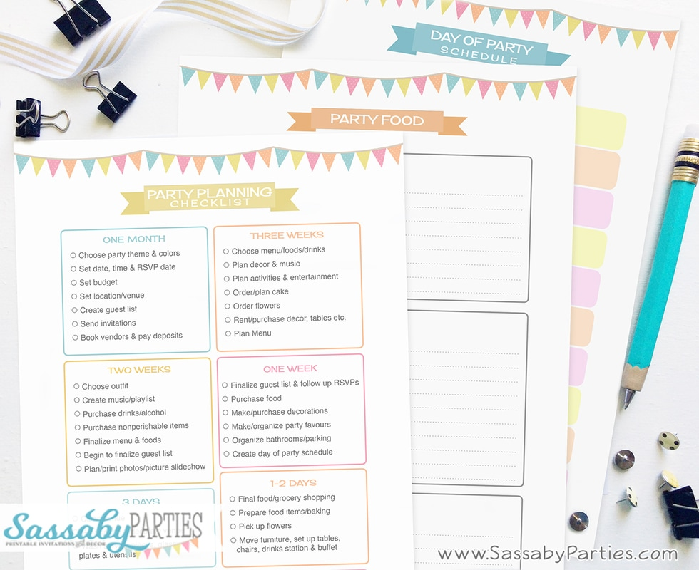 Party Planner Free Printable 14 Pages - The Sassaby Party Co - party planning schedule