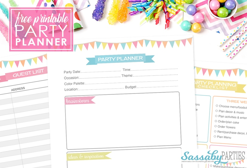 Party Planner Free Printable 14 Pages - The Sassaby Party Co