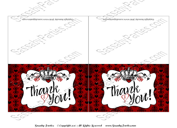 Queen Hearts Thank You Cards