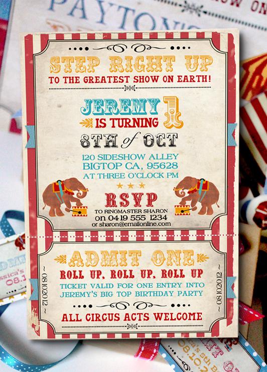 Vintage Circus Invitation Aqua