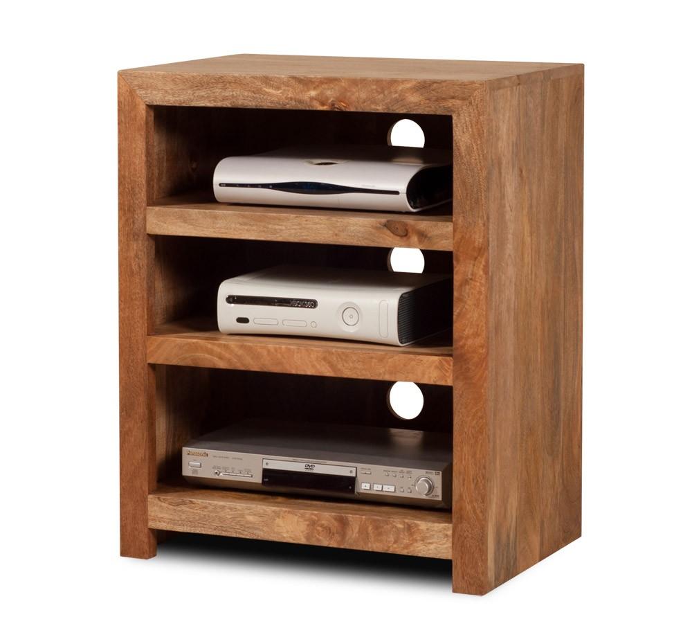 Mango Wood Low Hi Fi Shelving Unit Indian Wood Bookcase