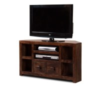 "Walnut Stained Indian Mango Wood TV Stand | 42"" Corner ..."