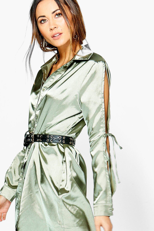 Boohoo rhiannon satin lace up shirt dress satiny