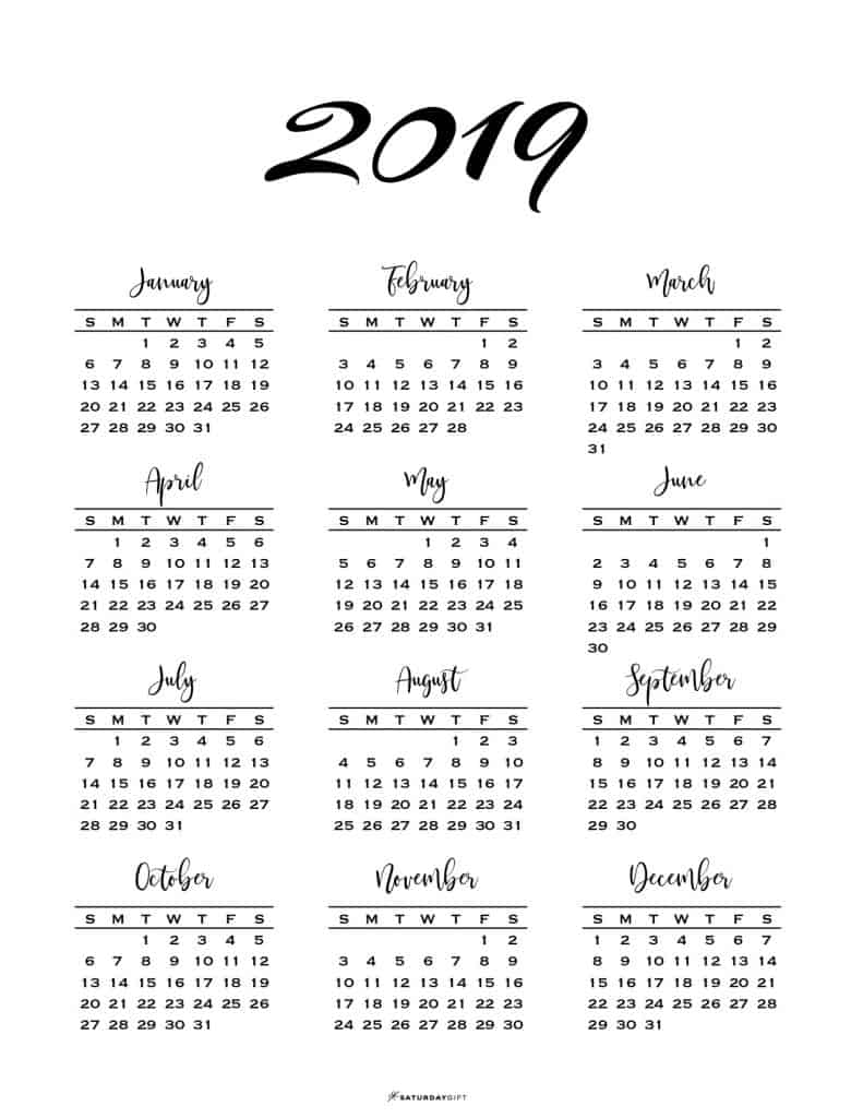 printable one page 2019 calendar