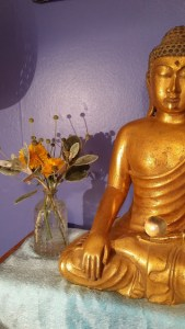 My Buddha and flowers 050917