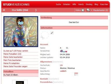 Screenshot des studiVZ-Profils von das A&O. Kreative Selbstdarstellung
