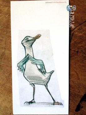 Skizze von Sabine Wilharm. Zeigt eine Comicmöwe, die ihre Flogel aneinandertippt und sehnsuchtsvoll nach oben schaut.