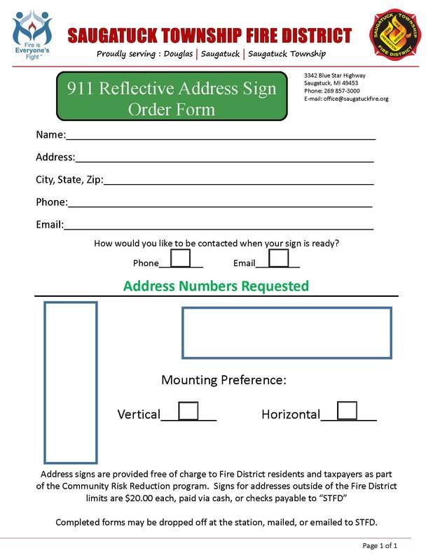Address Sign Order Form - Saugatuck Township Fire District