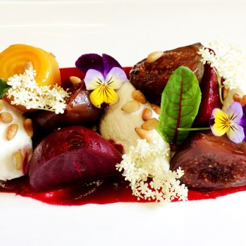 Roasted balsamic figs, organic beetroot, Meredith goats curd, roasted pine nuts