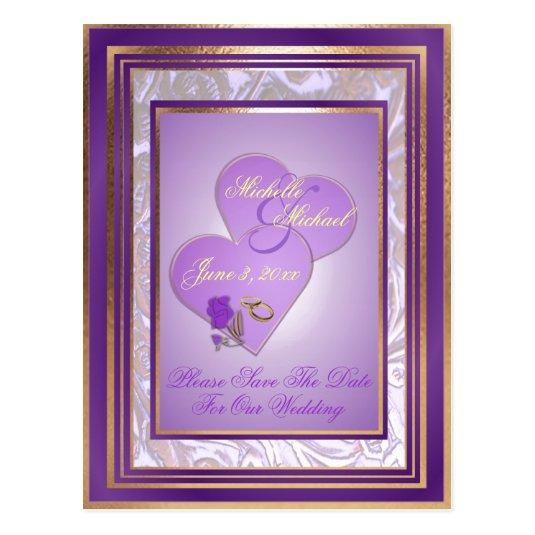 Shades of Lavender Purple Gold Wedding Save Date Cards \u2013 Save the - save date postcard