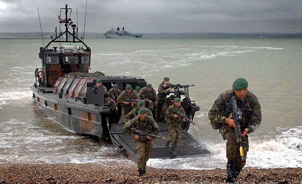 Royal Marines beach assault form LCVP