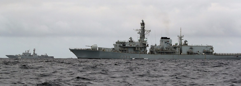HMS Richmond and Russian Udaloy class anti-submarine destroyer Vice-Admiral Kulakov