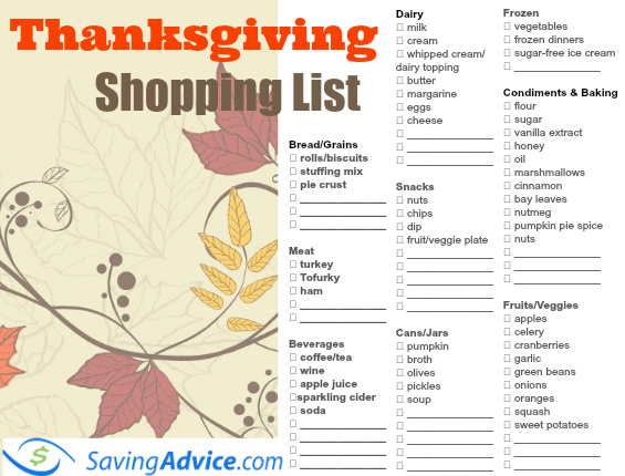 Plan Your Feast With This Thanksgiving Dinner Printable Shopping