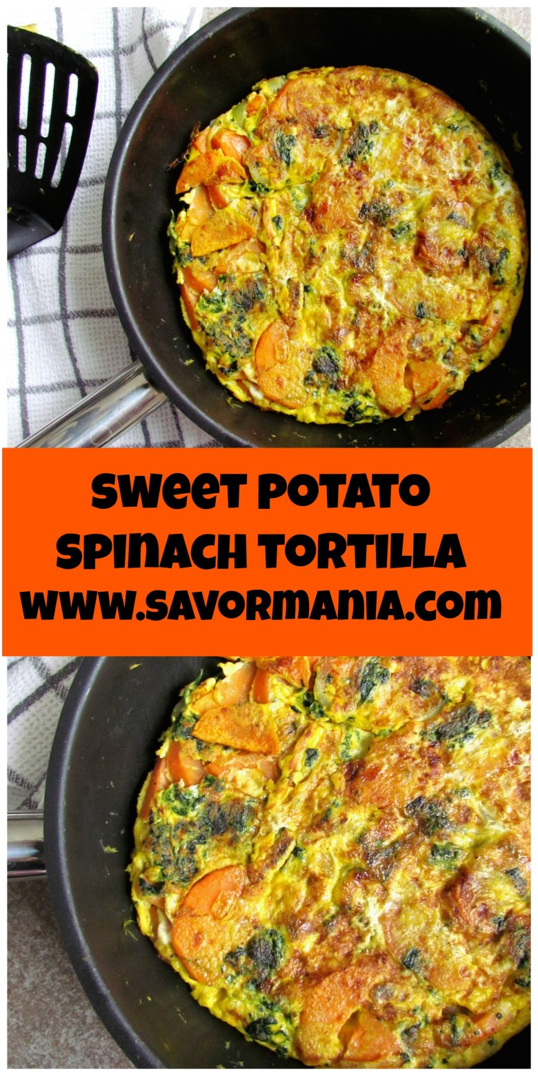 sweet potato and spinach tortilla | www.savormania.com