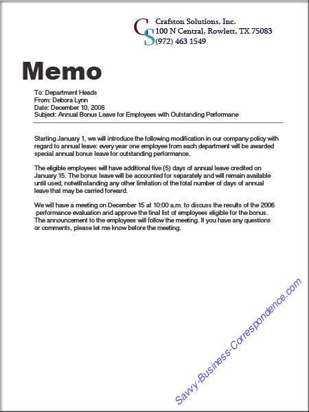 Are There Types of Memos? - sample business memo