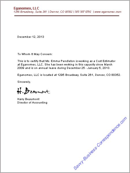 Business Letters Employment
