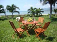 4 Or 6 Seater Wooden Garden Table and Chairs Set ...