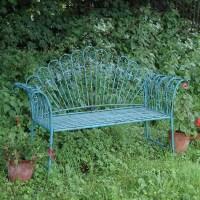 Antique Blue Shabby Chic Garden Bench - savvysurf.co.uk