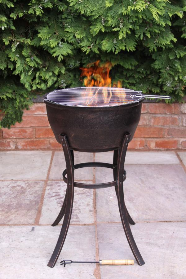 Cast Iron Fire Bowl With Bbq Grill Savvysurfcouk