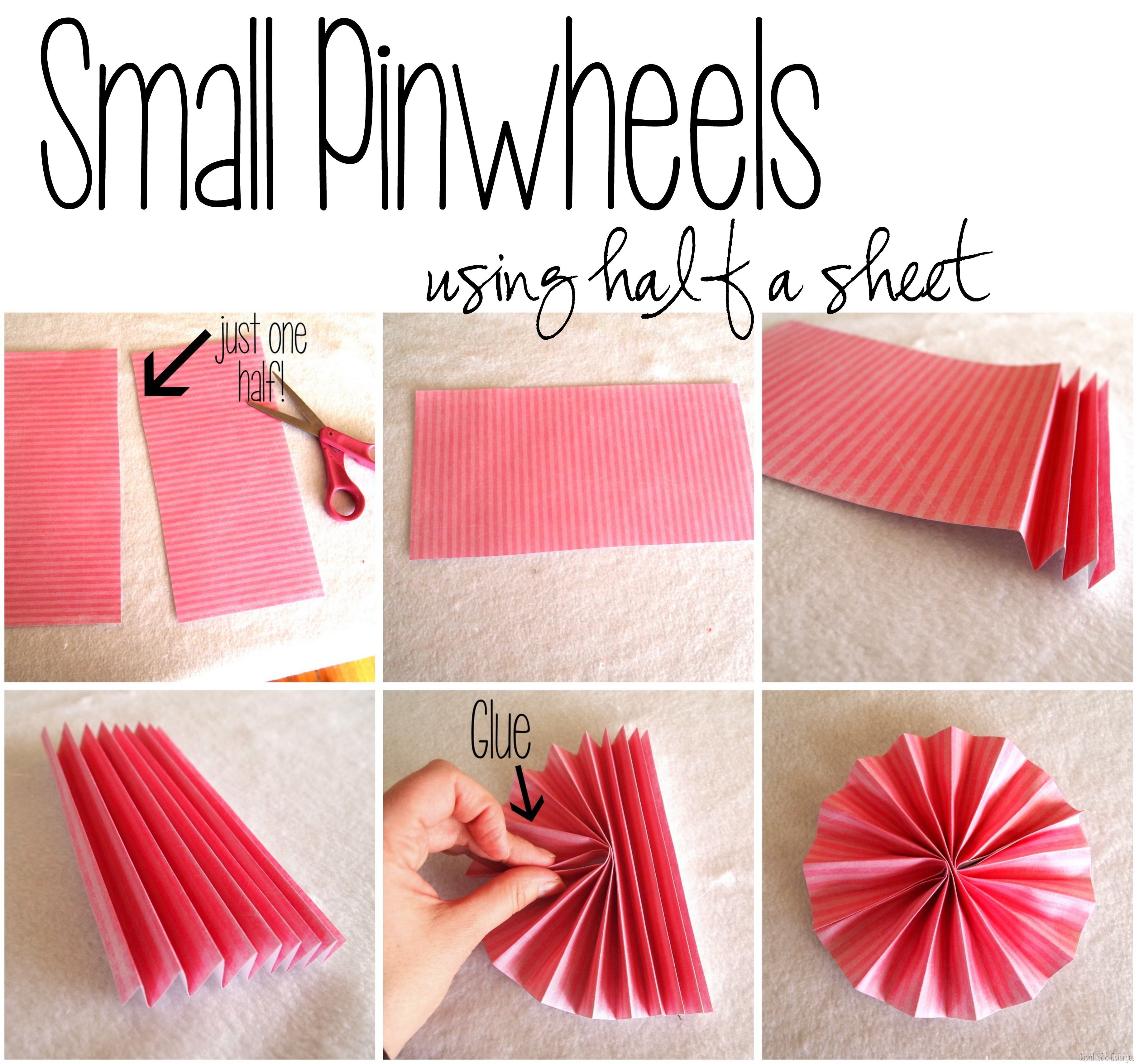 Make different size pinwheels for a pinwheel collage using scrapbooking paper sawdust and embryos