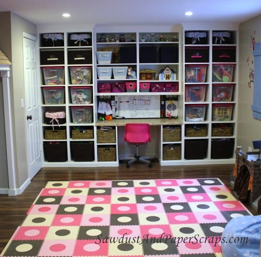 Playroom Built-in Storage and Homework Center