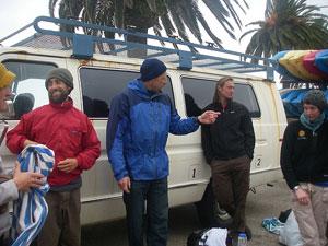 Guides preparing for kayak trip