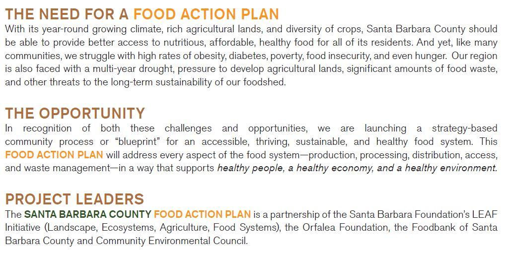 The Food Action Plan \u2013 Santa Barbara County Food Action Plan