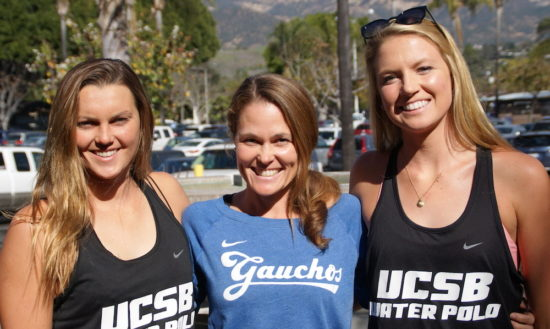 UCSB women's water polo coach Serela Kay, middle, is joined by seniors Jenna Solberg, left, and Sophie Trabucco.