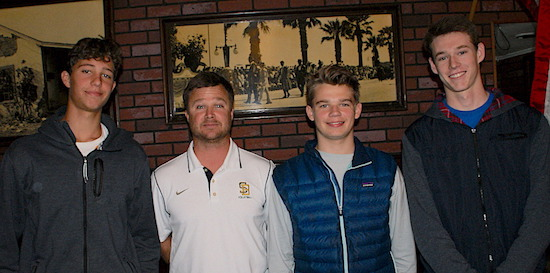 Members of the Santa Barbara High boys volleyball team attended Monday's press luncheon. They included, from left, Will Rottman, coach Chad Arneson, Dane Westwick and Henry Hancock.