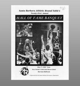 Santa Barbara Athletic Round Table 1988 Hall of Fame Banquet Cover
