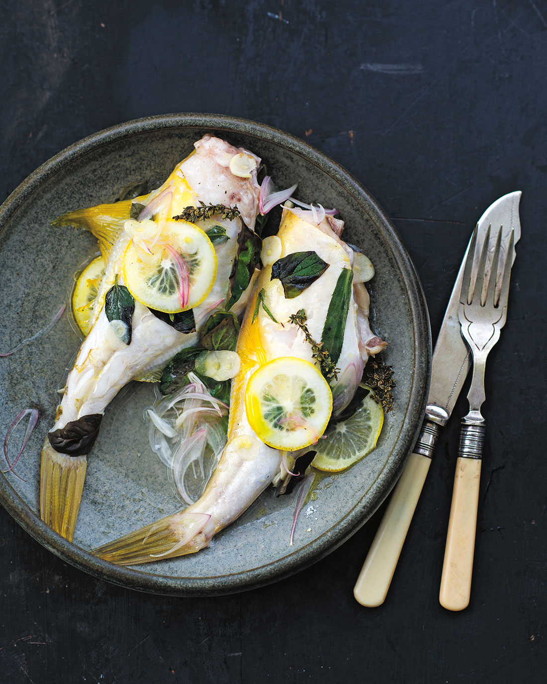 Whole baked leatherjacket with wine and herbs http www sbs com au food recipes whole baked leatherjacket wine and herbs