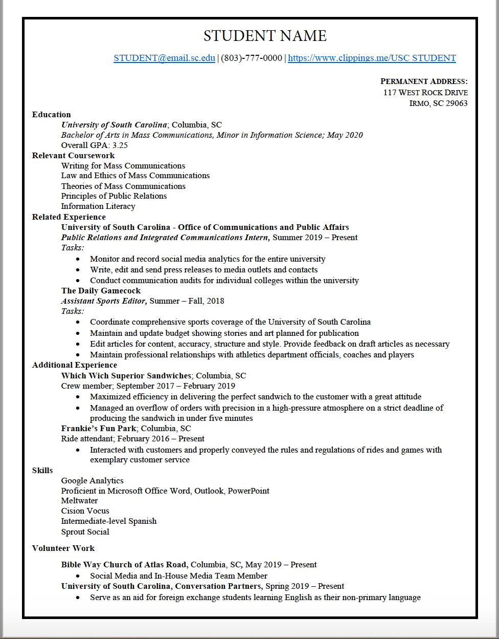 sample resume cce columbia