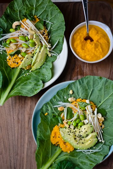 scaling back - 30 days, 30 dishes Day 7 asian carrot collard wraps
