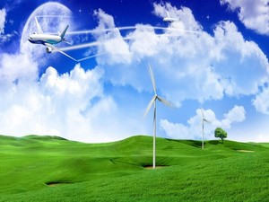 Planes and wind power generation on a green field - HD Desktop/photos