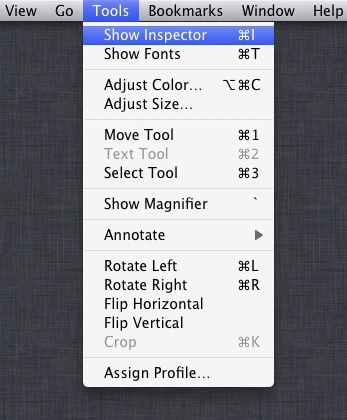 iPhoto Preview Show Inspector titles and descriptions