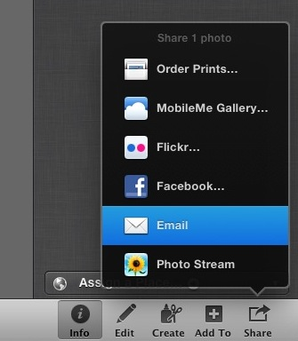 iPhoto Share and Email menu option