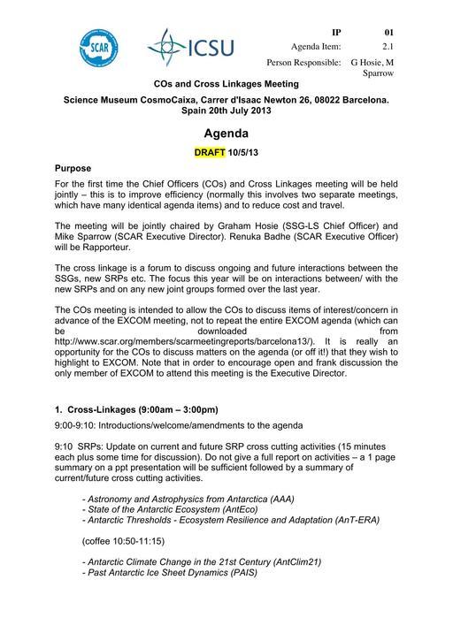 SCAR EXCOM 2013 IP01 COs and Cross Linkages Meeting - Agenda