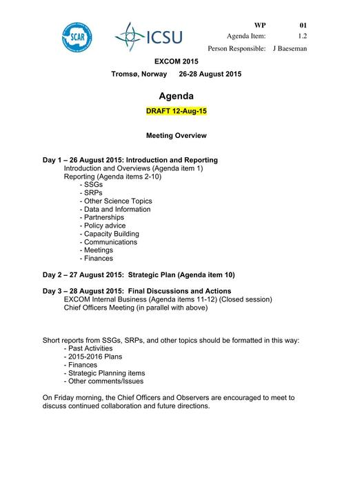 Delegates  EXCOM Meetings - collaboration meeting agenda