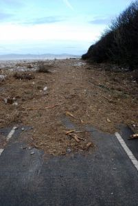 Cleaning up after the floods on National Cycle Route 5