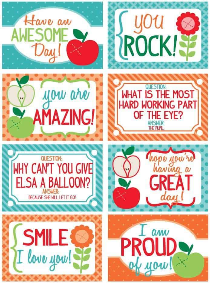 Free Printable Lunch Box Notes for Back To School - Scattered
