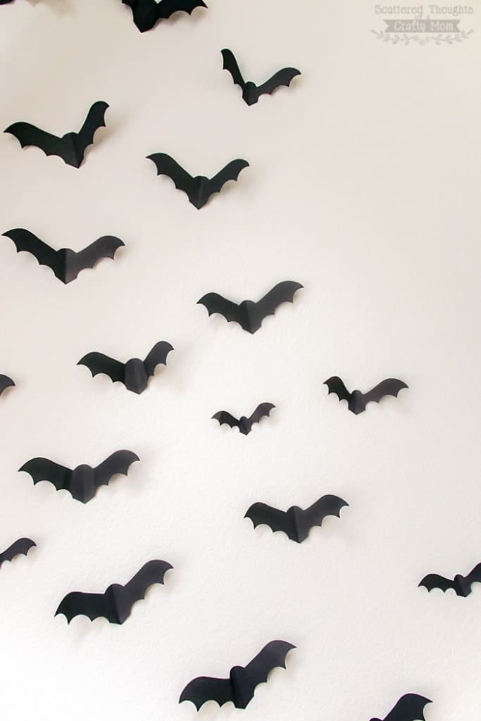 Bats on the Wall (free paper bat template)