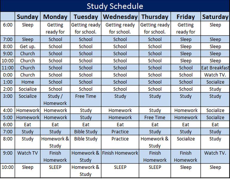 Law School Study Schedule Template - Costumepartyrun