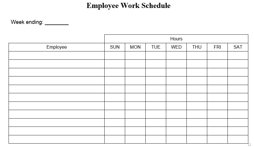 daily work schedule template word
