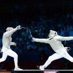Head parry executed in the 2012 Olympics medal round for Men's Sabre. Photo C. Harkins / Fencing.Net